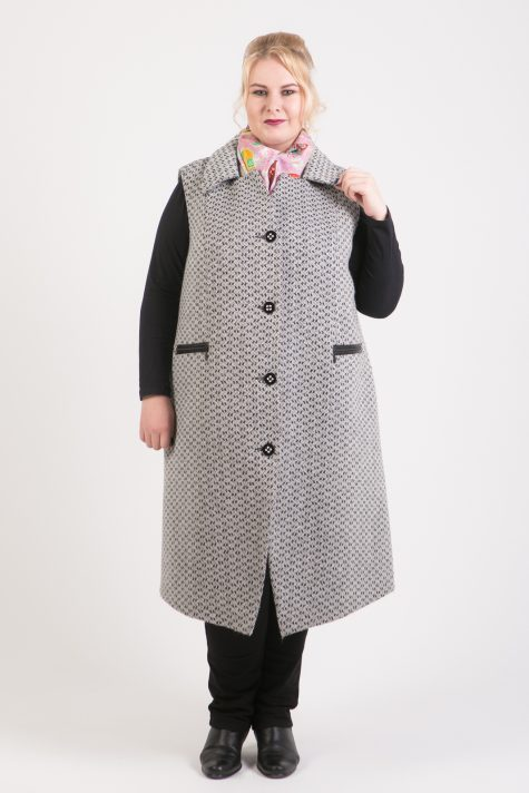 Безрукавное пальто из твида, цвет серый в интернет-магазине Фабрики Тревери