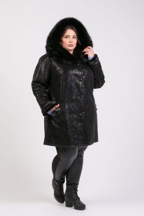Черная дубленка с капюшоном из песца, цвет черный в интернет-магазине Фабрики Тревери