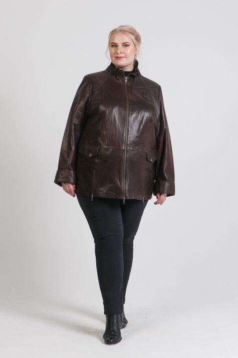 Демисезонная куртка из кожи, цвет черный в интернет-магазине Фабрики Тревери