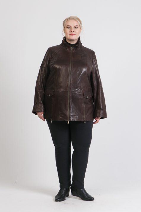 Демисезонная куртка из кожи, цвет коричневый в интернет-магазине Фабрики Тревери