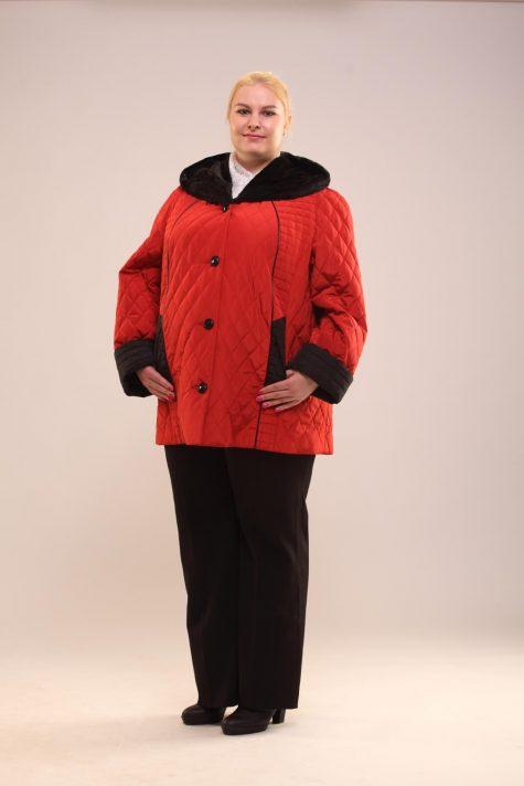 Демисезонная куртка из стежки, цвет красный в интернет-магазине Фабрики Тревери