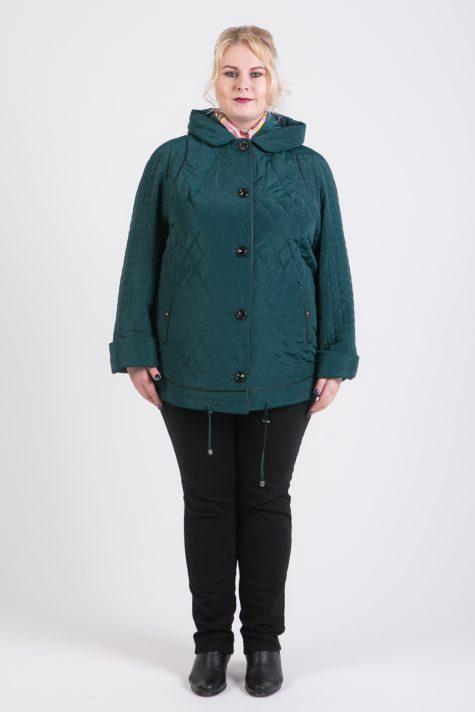 Демисезонная куртка из стежки, цвет зеленый в интернет-магазине Фабрики Тревери