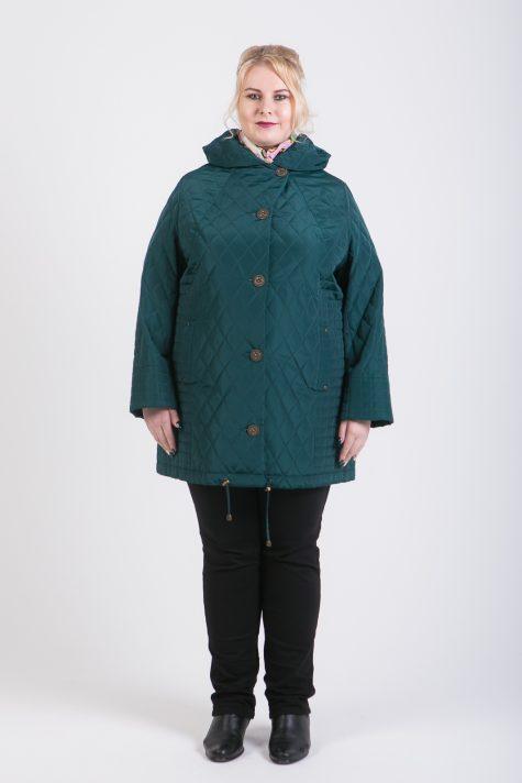 Демисезонная стеганная куртка, цвет зеленый в интернет-магазине Фабрики Тревери