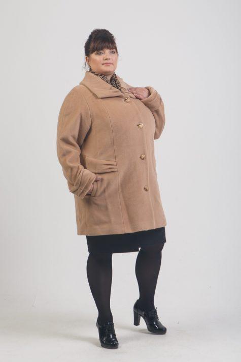 Демисезонное пальто из драпа, цвет золотистый в интернет-магазине Фабрики Тревери