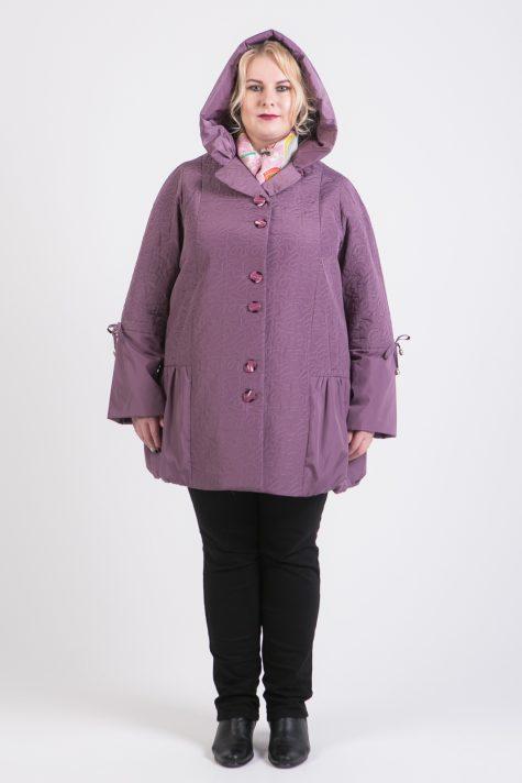 Демисезонное пальто из стежки, цвет сиреневый в интернет-магазине Фабрики Тревери