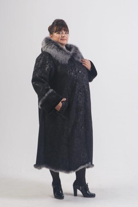 Длинная дубленка черного цвета с Тосканой, цвет черный в интернет-магазине Фабрики Тревери