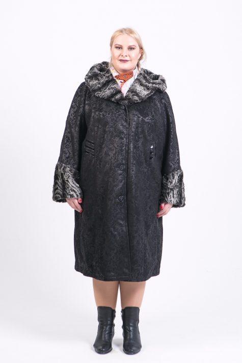 Длинная дубленка прямого силуэта, цвет черный в интернет-магазине Фабрики Тревери