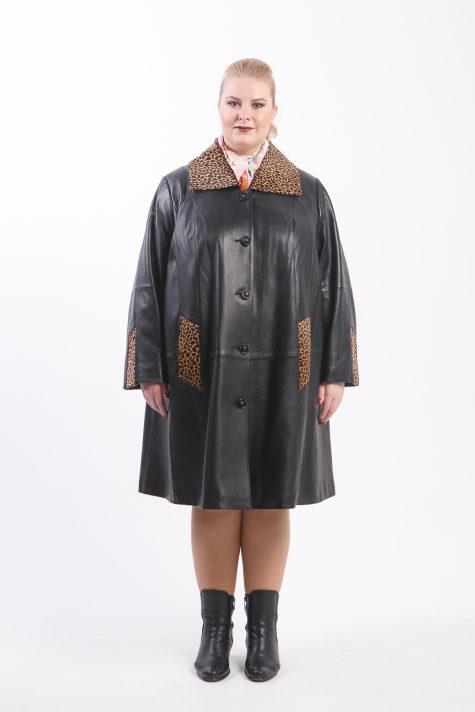 Длинное пальто из кожи, цвет черный в интернет-магазине Фабрики Тревери