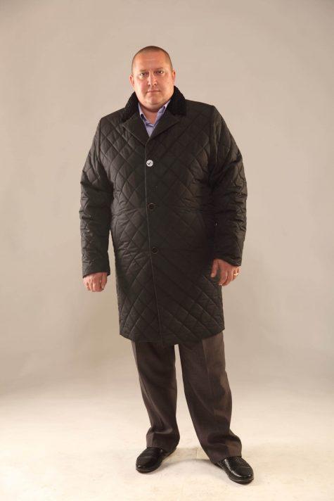 Длинное пальто из стежки, цвет черный в интернет-магазине Фабрики Тревери
