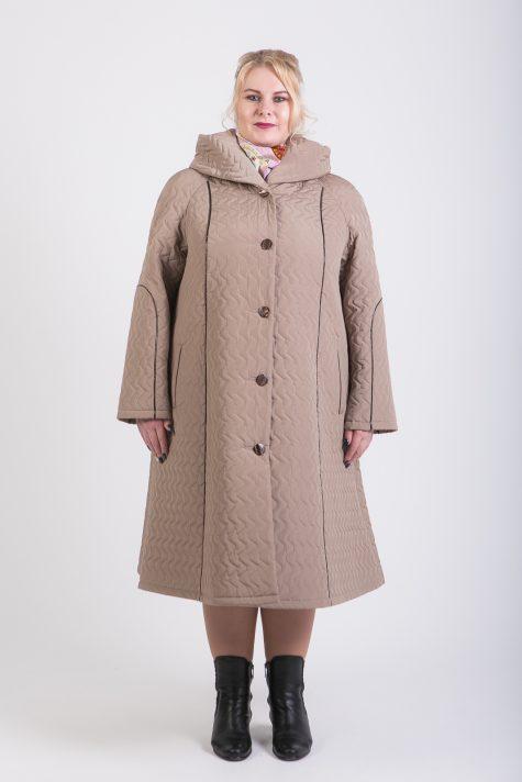 Длинное стеганное пальто трапеция, цвет бежевый в интернет-магазине Фабрики Тревери
