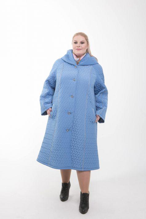 Длинное стеганное пальто трапеция, цвет голубой в интернет-магазине Фабрики Тревери