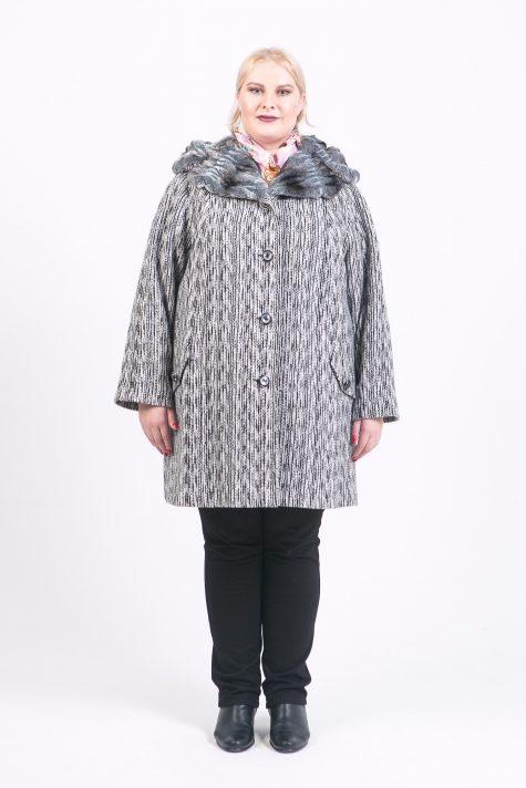 Драповое пальто с меховым капюшоном, цвет разноцветный в интернет-магазине Фабрики Тревери