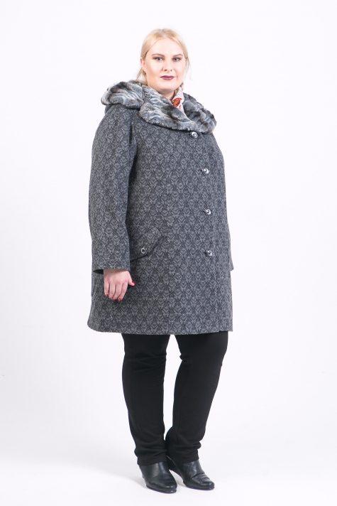 Драповое пальто с меховым капюшоном, цвет серый в интернет-магазине Фабрики Тревери