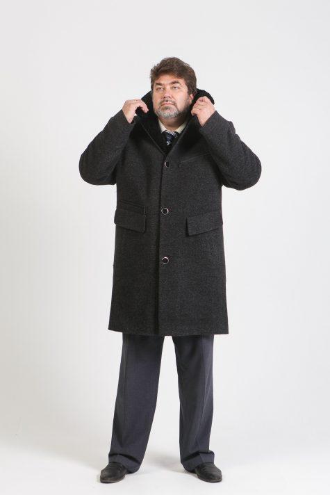 Драповое пальто с меховым воротником, цвет черный в интернет-магазине Фабрики Тревери