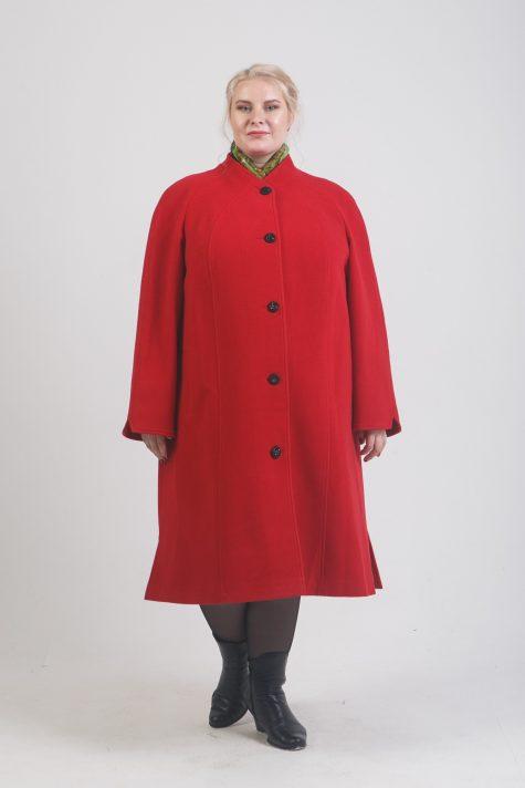 Драповое пальто с цельнокроеной стойкой, цвет красный в интернет-магазине Фабрики Тревери