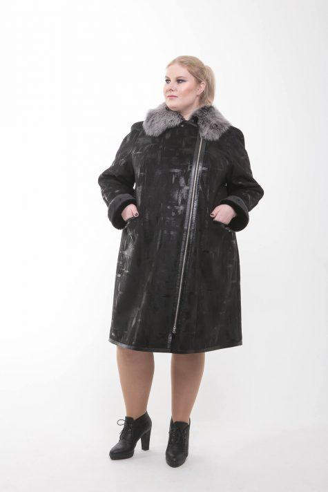 Дубленка на молнии с натуральным мехом, цвет черный в интернет-магазине Фабрики Тревери