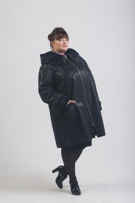 Дубленка на молнии с отделкой натуральной нерпой, цвет черный в интернет-магазине Фабрики Тревери