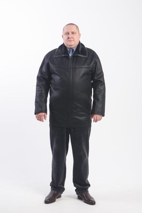 Дубленка на молнии с воротником, цвет черный в интернет-магазине Фабрики Тревери