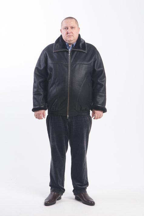 Дубленка на резинке с молнией, цвет черный в интернет-магазине Фабрики Тревери