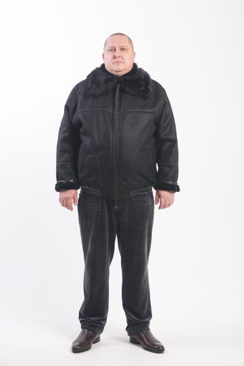 Дубленка Пилот с норкой, цвет черный в интернет-магазине Фабрики Тревери