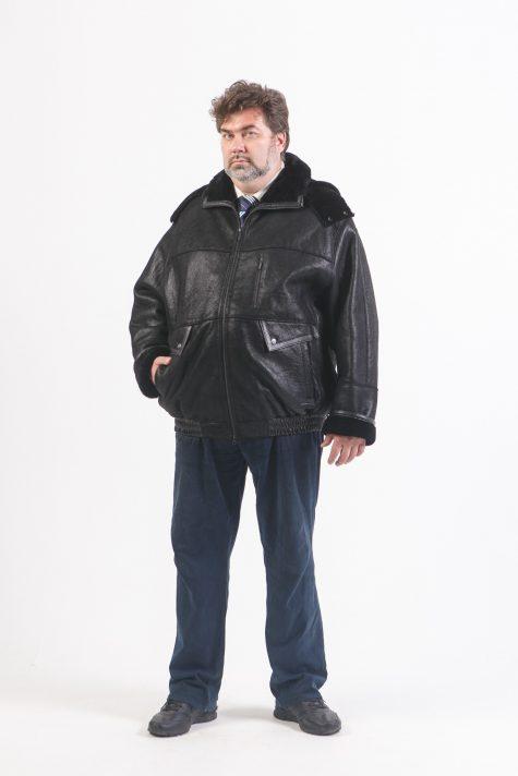 Дубленка-пилот со съемным капюшоном, цвет черный в интернет-магазине Фабрики Тревери