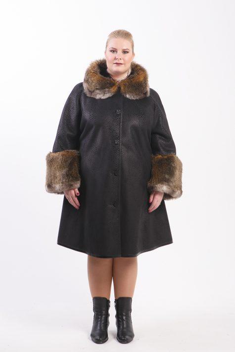 Дубленка с меховой отделкой по рукавам и капюшону, цвет черный в интернет-магазине Фабрики Тревери