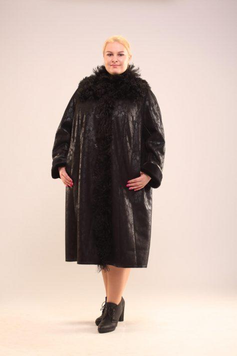 Дубленка с натуральным козликом, цвет черный в интернет-магазине Фабрики Тревери