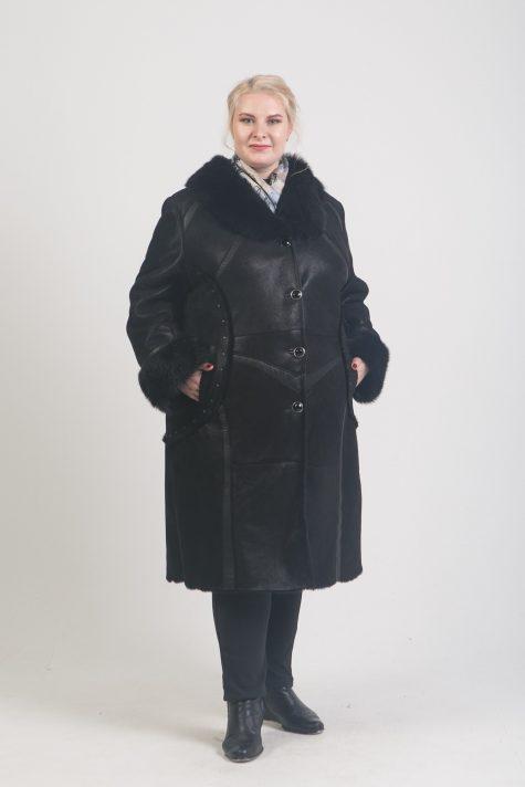 Дубленка с отделкой из кожи, цвет черный в интернет-магазине Фабрики Тревери