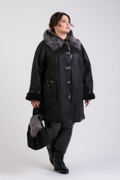 Дубленка с Тосканой прямого силуэта, цвет черный в интернет-магазине Фабрики Тревери