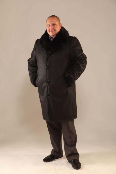 Дубленка с воротником из норки, цвет черный в интернет-магазине Фабрики Тревери