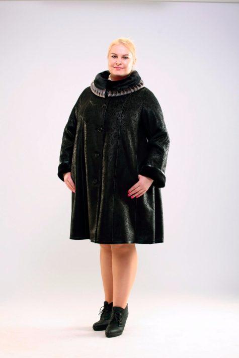Дубленка трапеция с натуральной нерпой, цвет черный в интернет-магазине Фабрики Тревери