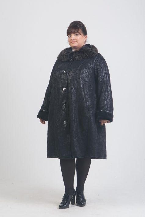 Дубленка трапеция с натуральным песцом по воротнику, цвет черный в интернет-магазине Фабрики Тревери