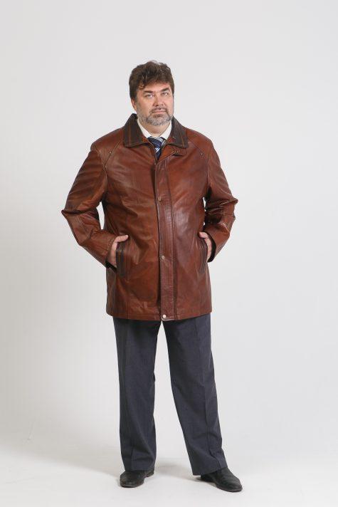 Классическая куртка из кожи, цвет коричневый в интернет-магазине Фабрики Тревери