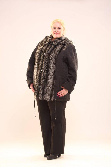 Комбинированная куртка из стежки с мехом, цвет черный в интернет-магазине Фабрики Тревери