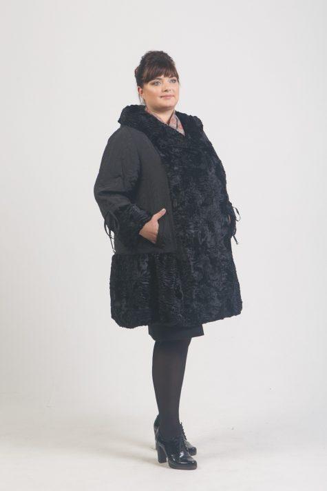 Комбинированное пальто из стежки и каракуля, цвет черный в интернет-магазине Фабрики Тревери