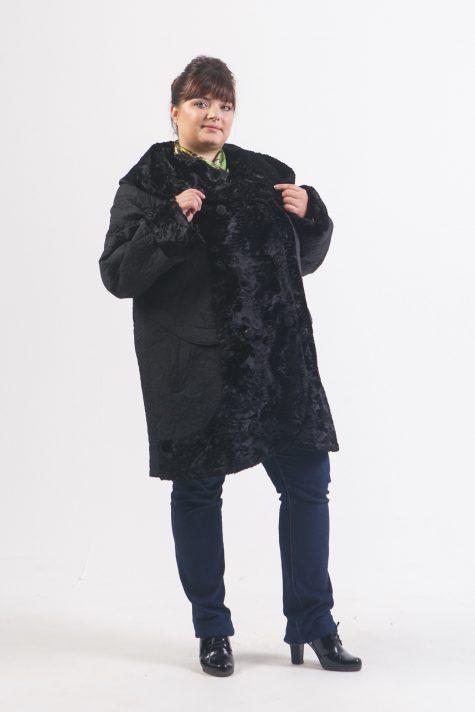 Комбинированное пальто из стежки с каракулем, цвет черный в интернет-магазине Фабрики Тревери