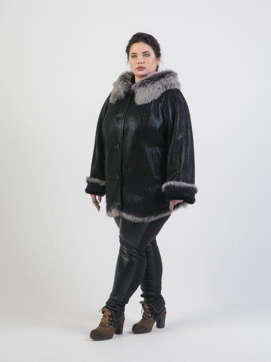 Короткая черная дубленка с Тосканой, цвет черный в интернет-магазине Фабрики Тревери