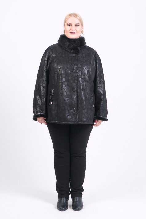 Короткая дубленка со стойкой из норки, цвет черный в интернет-магазине Фабрики Тревери