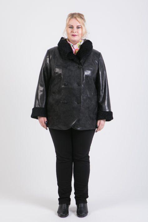 Короткое пальто из экокожи, цвет черный в интернет-магазине Фабрики Тревери