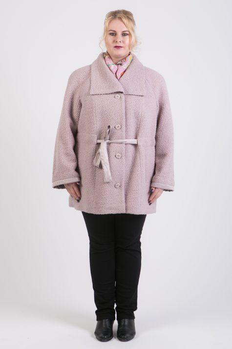 Короткое пальто на поясе из драпа, цвет бежевый в интернет-магазине Фабрики Тревери
