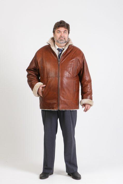 Кожаная куртка на овчине, цвет коричневый в интернет-магазине Фабрики Тревери