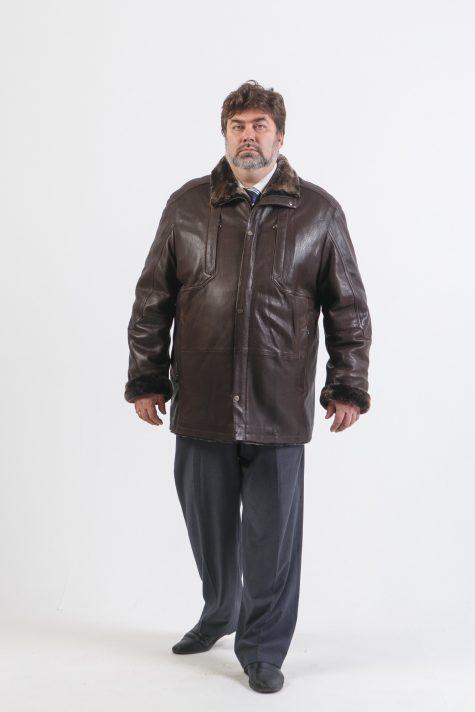 Кожаная куртка на овчине, цвет темно-коричневый в интернет-магазине Фабрики Тревери