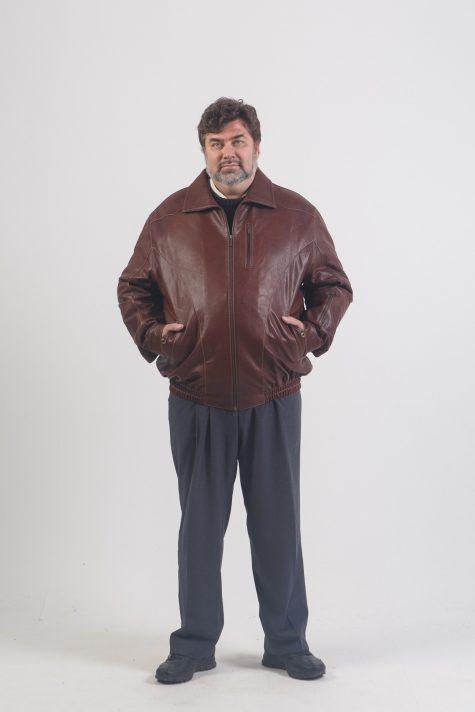 Кожаная куртка на резинке, цвет коричневый в интернет-магазине Фабрики Тревери