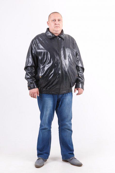 Кожаная куртка Пилот на резинке, цвет темно-синий в интернет-магазине Фабрики Тревери