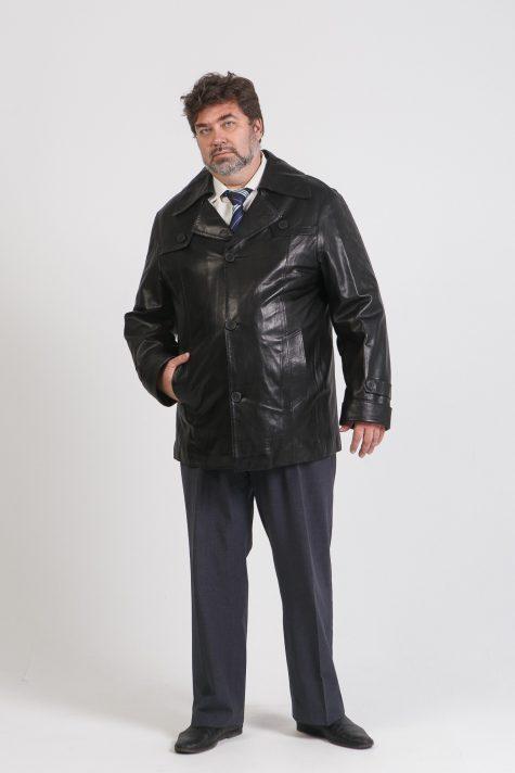 Куртка из кожи на пуговицах, цвет черный в интернет-магазине Фабрики Тревери