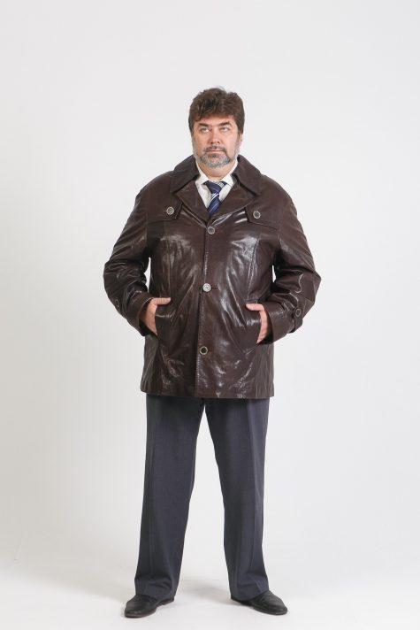 Куртка из кожи на пуговицах, цвет коричневый в интернет-магазине Фабрики Тревери