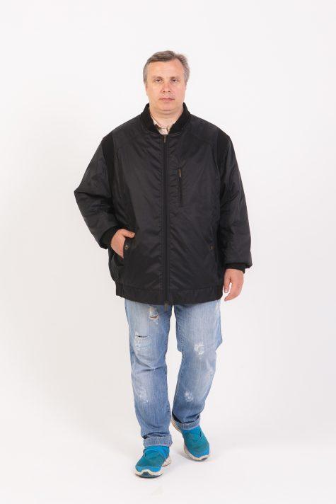 Куртка из плащевки с трикотажем, цвет черный в интернет-магазине Фабрики Тревери