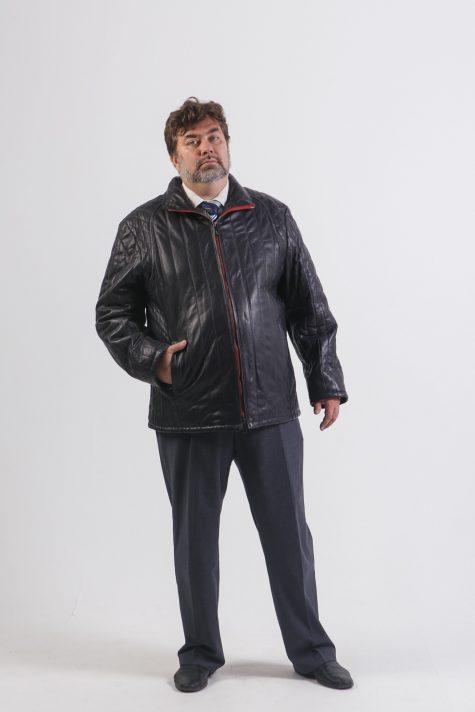Куртка из простеганной кожи, цвет синий в интернет-магазине Фабрики Тревери