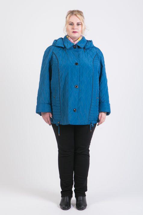 Куртка из стежки с капюшоном, цвет бирюзовый в интернет-магазине Фабрики Тревери