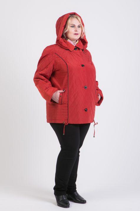 Куртка из стежки с капюшоном, цвет красный в интернет-магазине Фабрики Тревери
